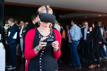 Liz Vines OAM trying the VR experience